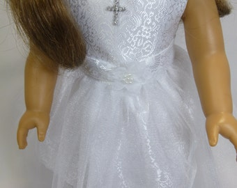 Communion dress and veil handmade for your American girl doll