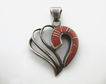 Vintage Sterling Silver Inlay Red Coral Heart Pendant