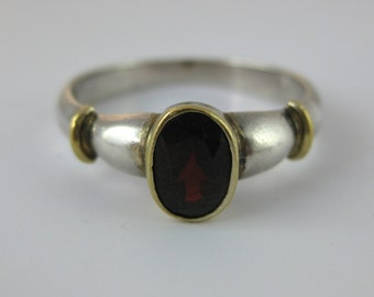 Ring, Size 7.75, Sterling Silver, Red Garnet, Women Ring, Birthstone Jewelry, Promise Ring, January, Signed Stamped 925