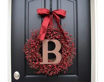 CHRISTMAS SALE MONOGRAM Wreath, Personalized Christmas Wreaths, Wedding Wreaths, Holiday Door Wreaths, Holiday Berry Wreaths, Red Berry Wrea