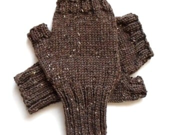 Brown Texting Gloves for Men, Teen Boys, Handknit Fingerless Gloves, Hand Warmers, tweed gloves, wool gloves, gift for men, mitts, size M/L
