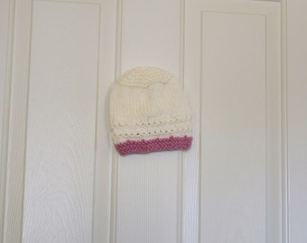 Hand Knitted -  Cream with Pink Trim Baby Hat