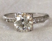 Art Deco Engagement Ring 1.31 Carat 1920's Platinum Diamond Ring