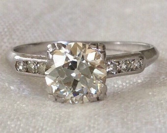 Flash Sale Art Deco Engagement Ring 1.31 Carat 1920's Platinum Diamond Ring