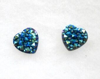 Spiked Faux Druzy Blue Heart Cabochon Earrings