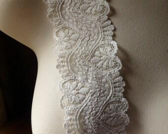 2 yds. Ivory Stretch Lace with Heart Design for Bridal, Garters, Lingerie, Costume Design, Lingerie  STR 1034