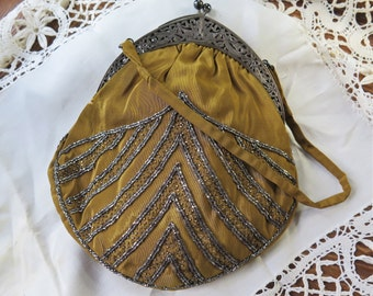 Beaded Silk Bag with Cut Steel Seed Beads and Silver Clasp Mustard Silk AS IS