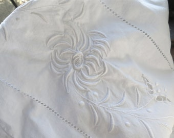 "Embroidered White Sheet in Cotton Twin/Full Bed Sheet from France 108"" x 82"""