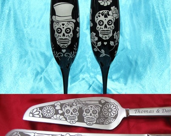 Day of the Dead Wedding Cake Server, Champagne Glasses, Sugar Skull Halloween Wedding