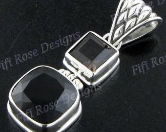 "1 9/16"" Onyx Smokey Quartz 925 Sterling Silver Pendant"