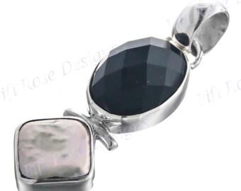 "1 11/16"" Design Onyx Biwa Pearl 925 Sterling Silver Pendant"