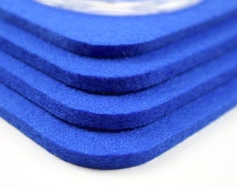 Neon Blue Square Cup Mug Coasters Kitchen Decor Accessory 5mm Thick Wool Felt Drink Coaster Set Housewarming Hostess Gift Accessories