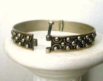 Medieval Crusades Bracelet, Silver Tribal Hinged Cuff, Pin Closure, Origin Unknown, Looks Like Sterling, But Is Not