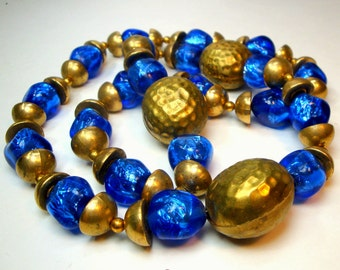 Luminous BLUE Glass FOIL Beads and Brass Walnut Necklace, 1980s, Italian Glass and Indian Brass Beads, OOAK By Rachelle Starr