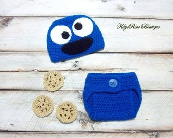 Newborn Baby Cookie Monster Hat and Diaper Cover Set Blue