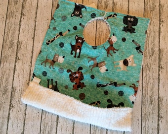 Teal Dogs Oversized Bib | Crumb Catcher Pocket