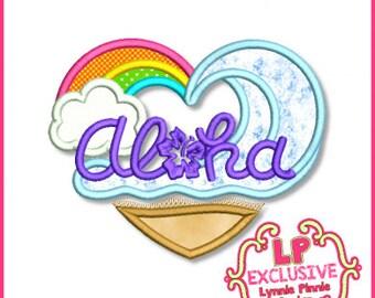 Aloha Heart Applique 4x4 5x7 6x10 7x11 Machine Embroidery Design beach Hawaii