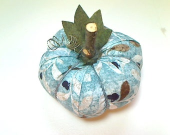 Size 3 | Turquoise Fabric Pumpkin | Halloween Decor | Fall Decoration | Shelf Sitter | Autumn Decor | Thanksgiving | Pin cushion | #6