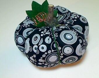 SALE: Size 5 | Black & White Fabric Pumpkin | Halloween Decor | Fall decor | Table Decoration | Goth | Kitchen Decor | Shelf Accent | #7