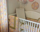Crib Bedding Set Complete Nursery Peach Gold Ready to Ship