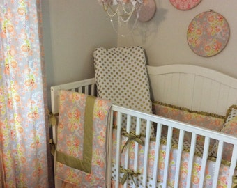 Peach Coral and Gold Baby Girl Crib Bedding Set Complete Nursery Princess READY TO SHIP