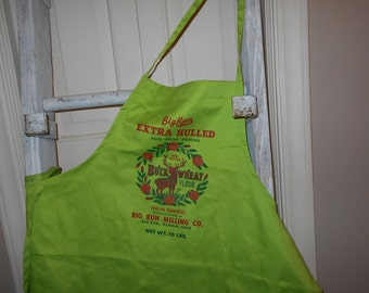 Sale,Christmas apron, Deer Apron, Holiday apron, chef apron, Feed Sack ,Kitchen linens, Co-Ed apron, polyester apron, Lime Green X-mas apron