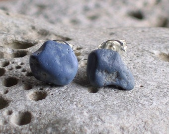 Blue Slag Glass Sea Glass Sterling Silver Studs Post Earrings (763)