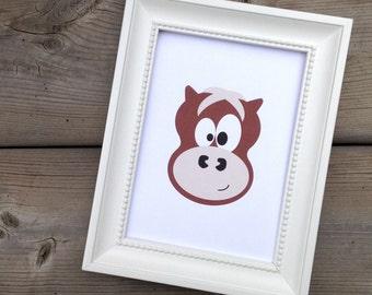 Brown Horse Print, Childrens Art Print, Kids Wall Art, Nursery Decor, Farm Animal Art