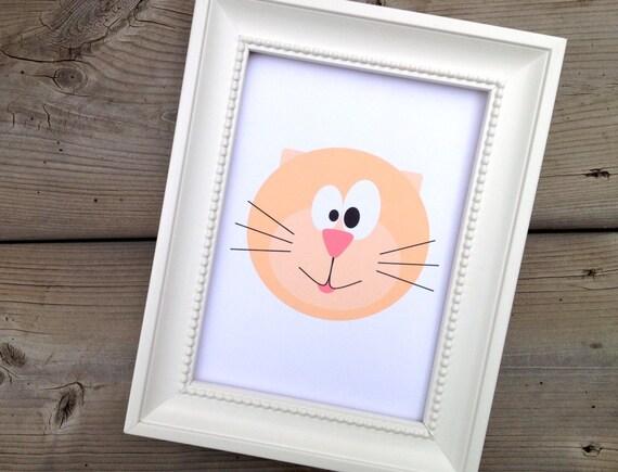 Pink Cat Print, Childrens Art Print, Kids Room Decor, Nursery Picture, Cute Animal Art
