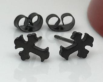 Ecclesiastical black steel cross stud earrings, men's stud earrings, cross stud earrings, black stainless steel cross studs,  419B