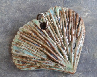 Sage Ginko Leaf Ceramic Pendant, ceramic jewelry, handcarved in stoneware clay