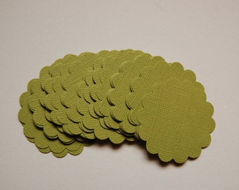 "Parakeet Green Scalloped Circle Punch Cut Outs --1 3/4""-- Set of 30-- Gift Tag-Cupcake Topper-Favor Tag-Earring Card-Crafts-Ready to Ship"