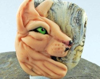 Cat Focal Bead Sculpture - Flameworked Glass Bead - Handmade Lampwork Glass Sculpture Bead