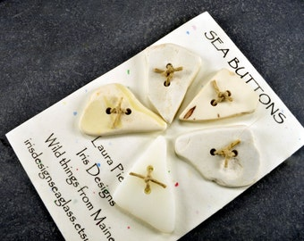 Set of five creamy white triangular  Maine sea / beach pottery buttons eco friendly supply for knits