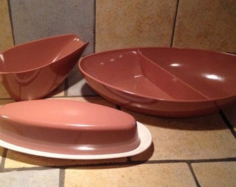 3 Piece Set of Cocoa Brown Plasticware Pieces by Melmac