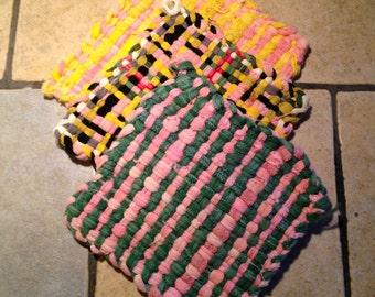 3 Vintage Loom Woven Pot Holders