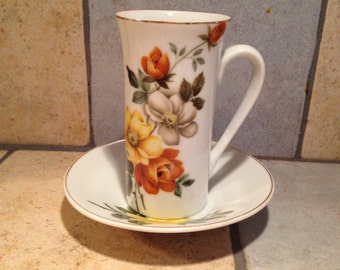 Golden Flower China Chocolate Cup and Saucer Set