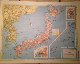 Political Map of Japan, Korea, and the Ryukyu Islands and Northern Africa Antique Illustration