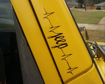 2 Jeep Heartbeat Vinyl Decal Car Sticker