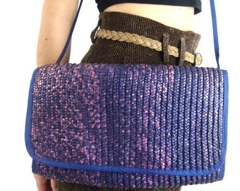 80s indigo purple cobalt shoulder bag handbag purse crossbody strap straw