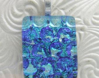 Caribbean Blues Pendant- Fused Glass Jewelry handmade in North Carolina