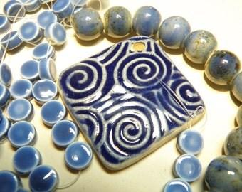 DESTASH --- Shades of Blue Ceramic Beads Necklace Kit