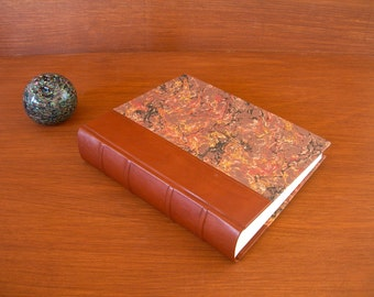 Leather spine photo album - cafe brown with French marbled paper  8x10 in. 20.5x24.5 cm.-Ready to ship