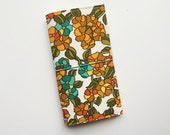 NEW - vintage floral fauxdori fabric travelers notebook cover, notebook included