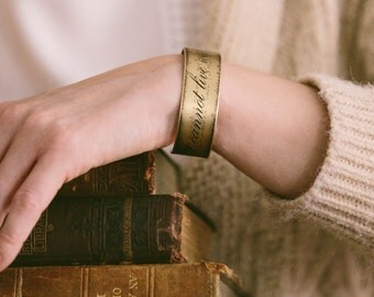 I Cannot Live Without Books - Thomas Jefferson Quote - Reading Jewelry - Book Lover Gift - Slim Brass Cuff