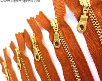 YKK Brass Gold Metal Donut Pull Zippers (5) Pieces - Gingerbread 079 - Available in 7 and 16 inches