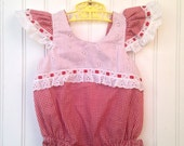 3 month vintage red gingham lace romper with red heart buttons valentines day