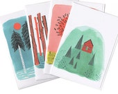 Mountains and Trees Blank Greeting Card Set