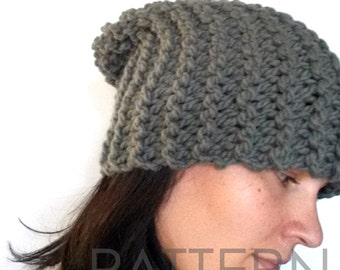 Beanie Pattern - Knitting Pattern PDF for the Slouchy Beanie