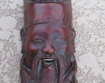 Chinese Wood Carving Man Smiling Laughing Face Mask Wall Hanging Tribal Vintage Hand Carved Wooden Sculpture Bone Teeth